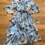 เดรสเกาหลี พร้อมส่ง ชุดเดรส ผ้าชีฟองสีฟ้าพิมพ์ลายดอกไม้ thumbnail 18