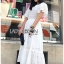 ชุดเดรสเกาหลี พร้อมส่ง เดรสผ้าคอตตอนสีขาวฉลุลาย thumbnail 9