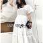 ชุดเดรสเกาหลี พร้อมส่ง เดรสผ้าคอตตอนสีขาวฉลุลาย thumbnail 7