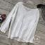 เสื้อเกาหลี พร้อมส่ง เสื้อผ้าป่าน งานฉลุทั้งตัว thumbnail 4