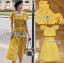 เสื้อผ้าเกาหลี พร้อมส่ง เสื้อคร็อปสั้นและกระโปรงสีเหลือง thumbnail 11