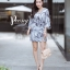 เดรสเกาหลี พร้อมส่ง Dress.พิมพ์ลายผ่าปลาย thumbnail 8