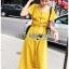 เสื้อผ้าเกาหลี พร้อมส่ง เสื้อคร็อปสั้นและกระโปรงสีเหลือง thumbnail 5