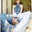 เสื้อผ้าเกาหลี พร้อมส่ง จัมป์สูท ผ้าพลีตสีน้ำเงิน thumbnail 6