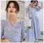เดรสเกาหลี พร้อมส่ง ชุดเดรส ผ้าคอตตอนสีฟ้าอ่อนปัก thumbnail 9