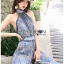 เสื้อผ้าเกาหลี พร้อมส่ง จัมป์สูท ผ้าพลีตสีน้ำเงิน thumbnail 12