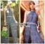 เสื้อผ้าเกาหลี พร้อมส่ง จัมป์สูท ผ้าพลีตสีน้ำเงิน thumbnail 3