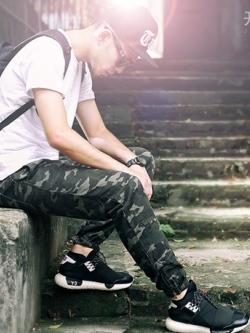 กางเกงขายาวเกาหลี สีเขียวพรางทหาร จั้มปลายขา