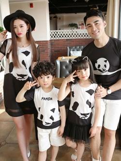 ชุดครอบครัวเซท4ชุด ลายหมีแพนด้า เสื้อยืด+เดรสสั้น