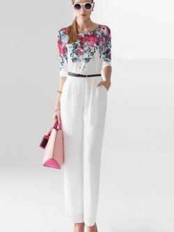 จั๊มสูทกางเกงขายาวสีขาวมีเข็มขัด พิมพ์ลายดอกไม้ สไตล์ยุโรป